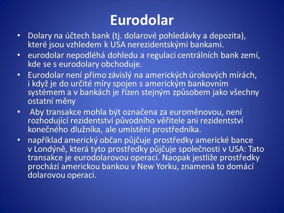Eurodolar Dolary na účtech bank (tj.