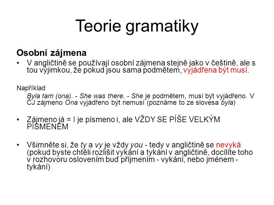 Teorie gramatiky Osobní zájmena V angličtině se používají osobní zájmena stejně jako v češtině, ale s tou výjimkou, že pokud jsou sama podmětem, vyjád