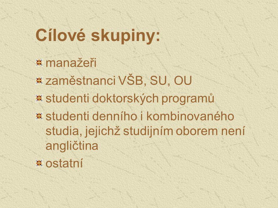 Cílové skupiny: manažeři zaměstnanci VŠB, SU, OU studenti doktorských programů studenti denního i kombinovaného studia, jejichž studijním oborem není angličtina ostatní