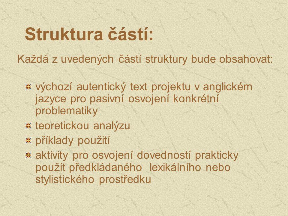Struktura částí: výchozí autentický text projektu v anglickém jazyce pro pasivní osvojení konkrétní problematiky teoretickou analýzu příklady použití