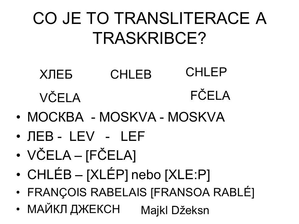 CO JE TO TRANSLITERACE A TRASKRIBCE? МОСКВА - MOSKVA - MOSKVA ЛЕВ - LEV - LEF VČELA – [FČELA] CHLÉB – [XLÉP] nebo [XLE:P] FRANÇOIS RABELAIS [FRANSOA R