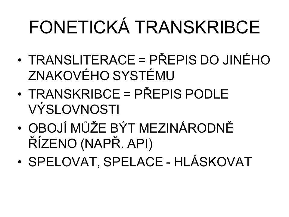 FONETICKÁ TRANSKRIBCE TRANSLITERACE = PŘEPIS DO JINÉHO ZNAKOVÉHO SYSTÉMU TRANSKRIBCE = PŘEPIS PODLE VÝSLOVNOSTI OBOJÍ MŮŽE BÝT MEZINÁRODNĚ ŘÍZENO (NAP