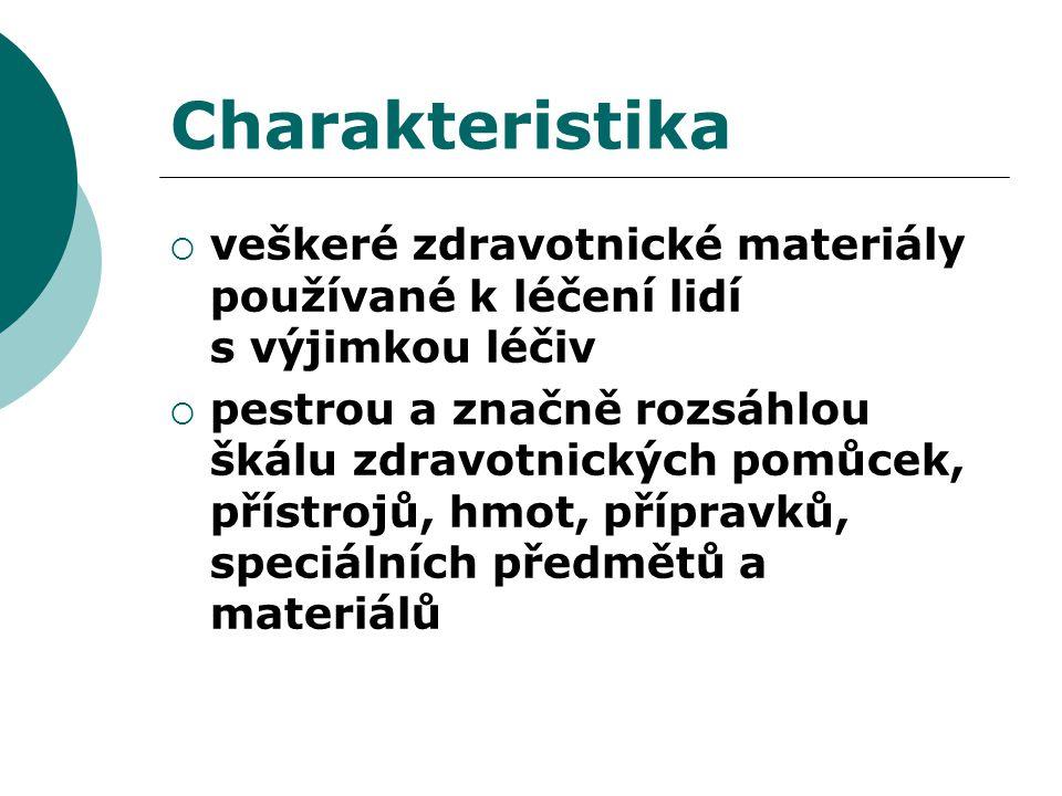 Charakteristika  veškeré zdravotnické materiály používané k léčení lidí s výjimkou léčiv  pestrou a značně rozsáhlou škálu zdravotnických pomůcek, p