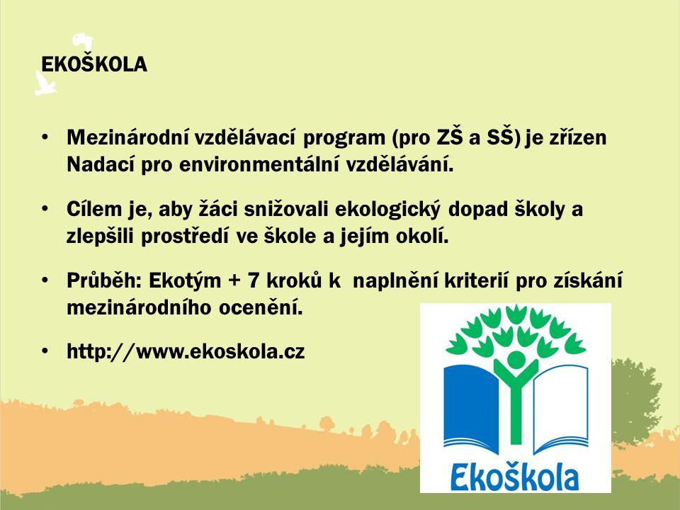 EKOŠKOLA Mezinárodní vzdělávací program (pro ZŠ a SŠ) je zřízen Nadací pro environmentální vzdělávání. Cílem je, aby žáci snižovali ekologický dopad š
