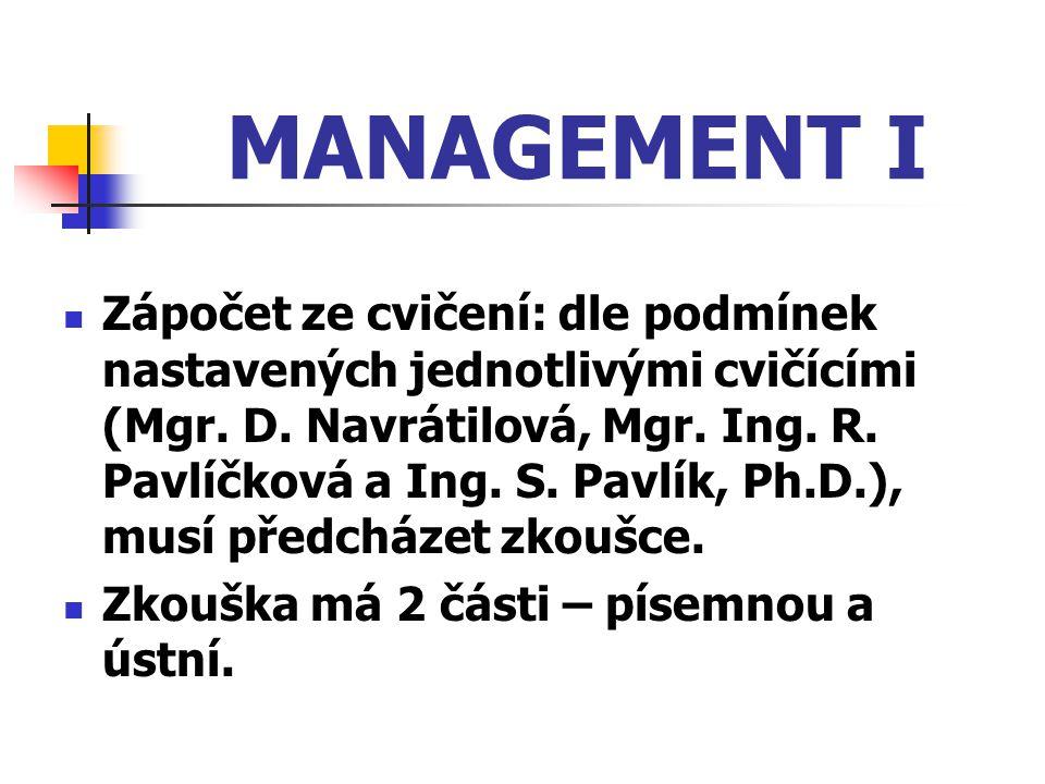 MANAGEMENT I Zápočet ze cvičení: dle podmínek nastavených jednotlivými cvičícími (Mgr. D. Navrátilová, Mgr. Ing. R. Pavlíčková a Ing. S. Pavlík, Ph.D.