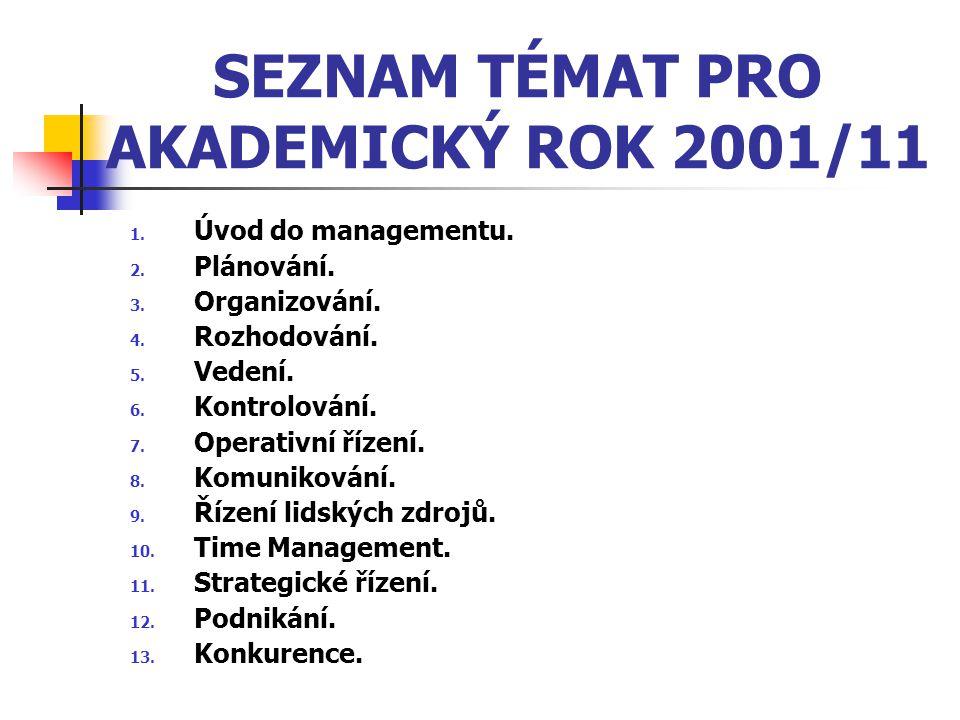SEZNAM TÉMAT PRO AKADEMICKÝ ROK 2001/11 1. Úvod do managementu. 2. Plánování. 3. Organizování. 4. Rozhodování. 5. Vedení. 6. Kontrolování. 7. Operativ