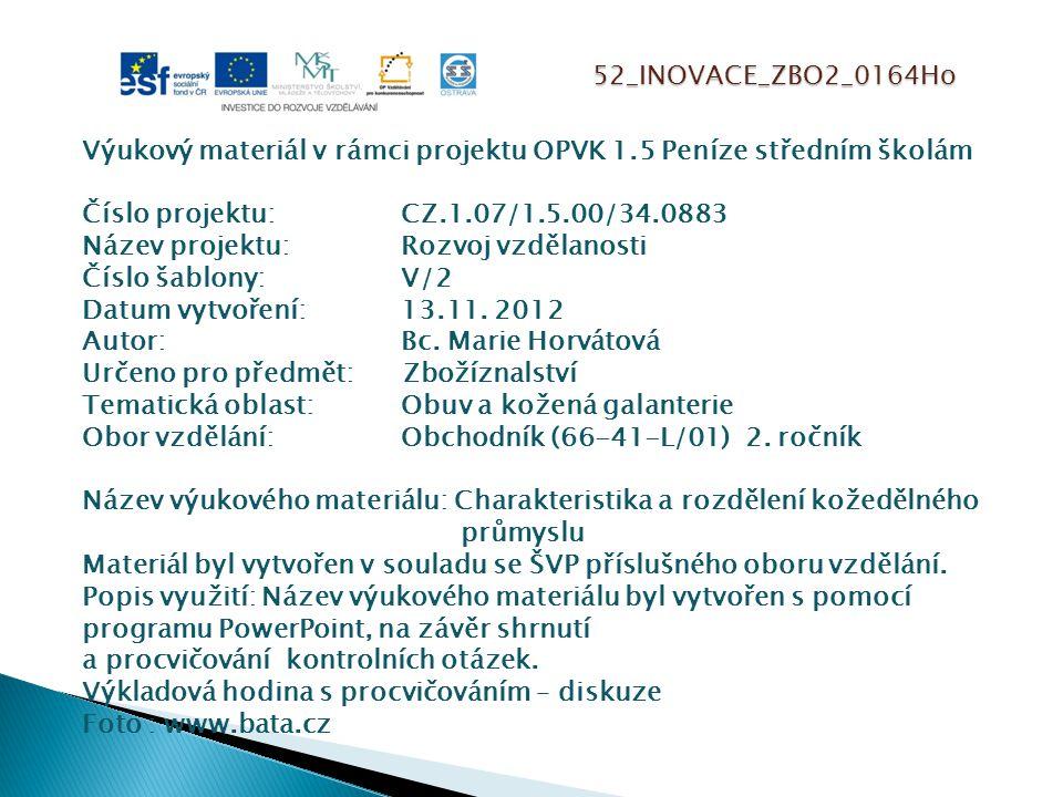 52_INOVACE_ZBO2_0164Ho Výukový materiál v rámci projektu OPVK 1.5 Peníze středním školám Číslo projektu:CZ.1.07/1.5.00/34.0883 Název projektu:Rozvoj vzdělanosti Číslo šablony: V/2 Datum vytvoření:13.11.