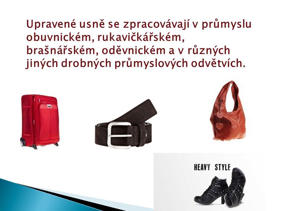 Upravené usně se zpracovávají v průmyslu obuvnickém, rukavičkářském, brašnářském, oděvnickém a v různých jiných drobných průmyslových odvětvích.