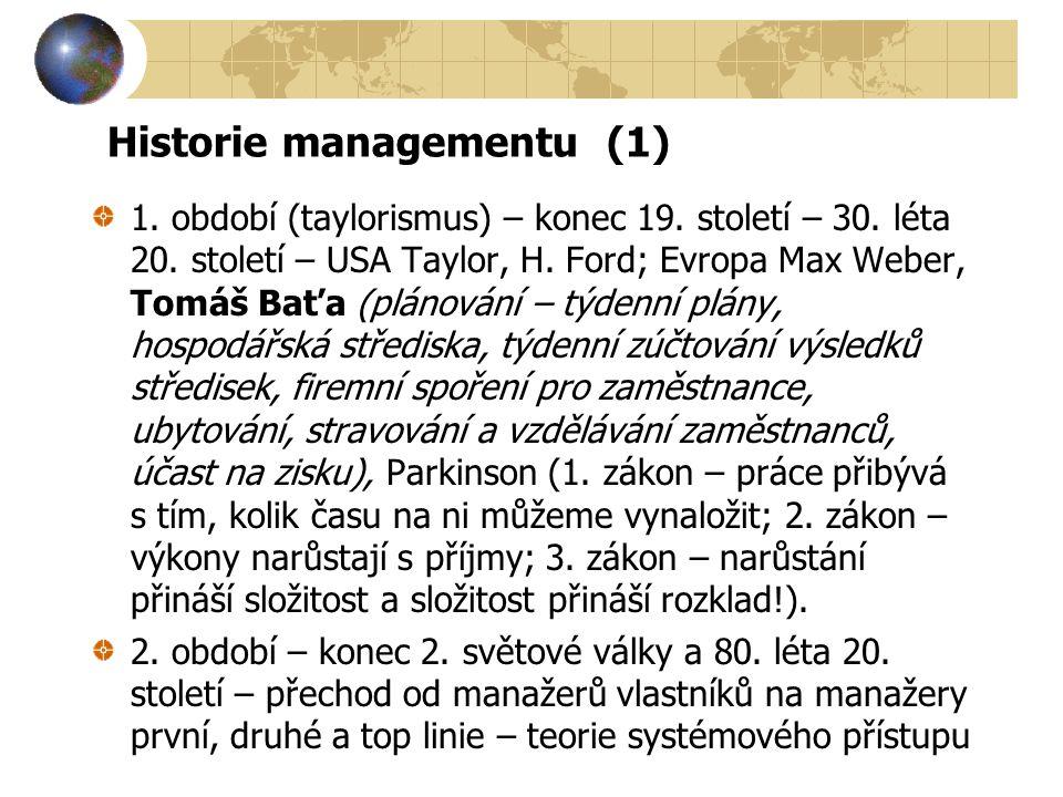 Historie managementu (1) 1.období (taylorismus) – konec 19.
