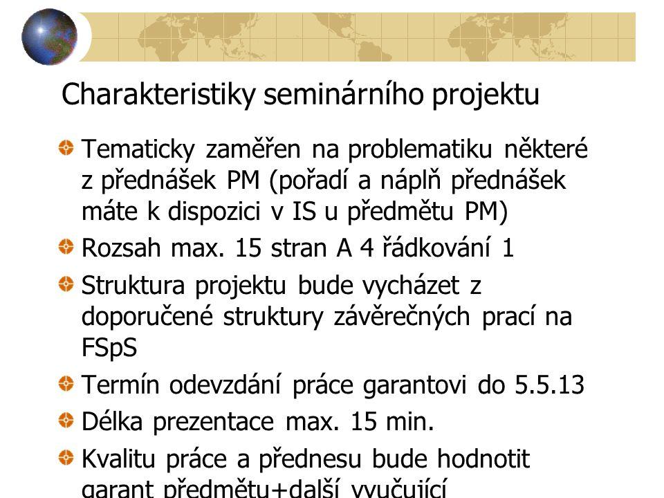 Charakteristiky seminárního projektu Tematicky zaměřen na problematiku některé z přednášek PM (pořadí a náplň přednášek máte k dispozici v IS u předmětu PM) Rozsah max.