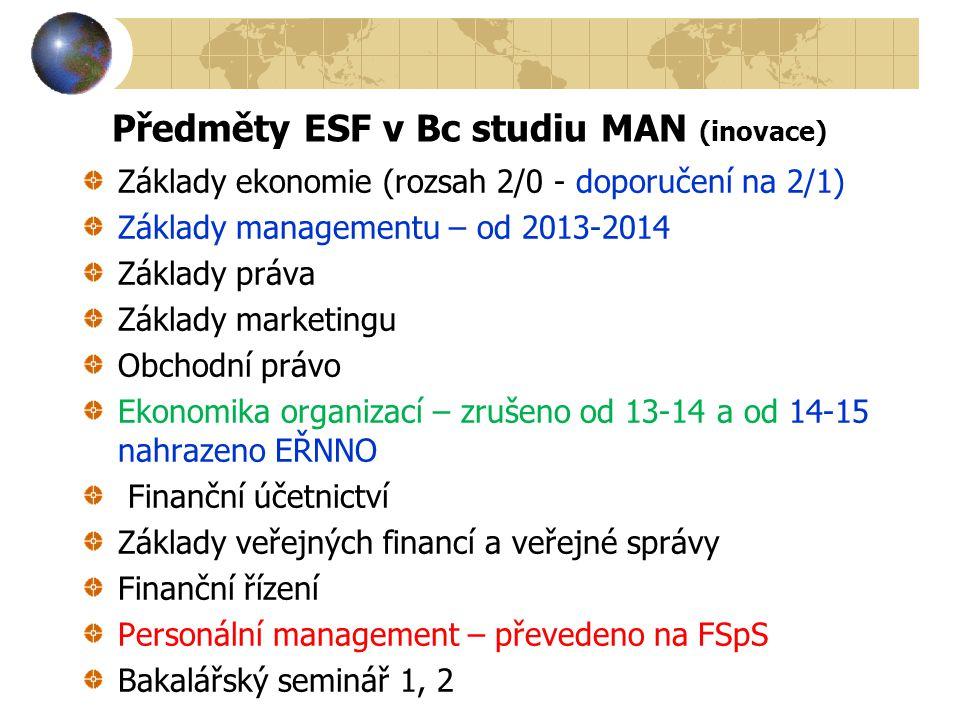 Předměty ESF v Bc studiu MAN (inovace) Základy ekonomie (rozsah 2/0 - doporučení na 2/1) Základy managementu – od 2013-2014 Základy práva Základy mark