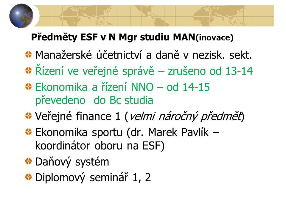 Předměty ESF v N Mgr studiu MAN (inovace) Manažerské účetnictví a daně v nezisk. sekt. Řízení ve veřejné správě – zrušeno od 13-14 Ekonomika a řízení
