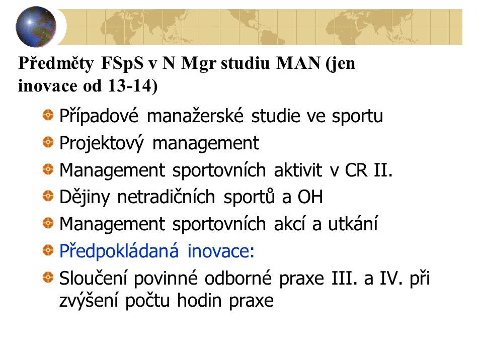 Předměty FSpS v N Mgr studiu MAN (jen inovace od 13-14) Případové manažerské studie ve sportu Projektový management Management sportovních aktivit v C