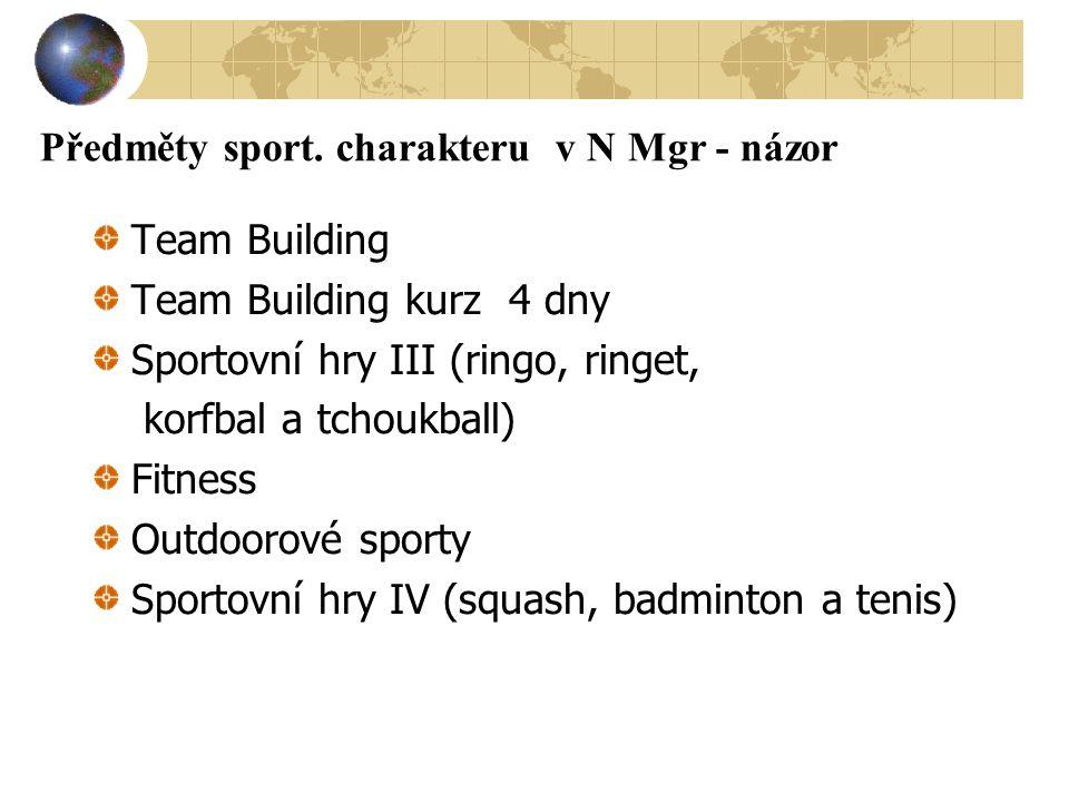 Předměty sport. charakteru v N Mgr - názor Team Building Team Building kurz 4 dny Sportovní hry III (ringo, ringet, korfbal a tchoukball) Fitness Outd