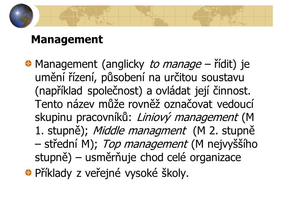 Management Management (anglicky to manage – řídit) je umění řízení, působení na určitou soustavu (například společnost) a ovládat její činnost. Tento