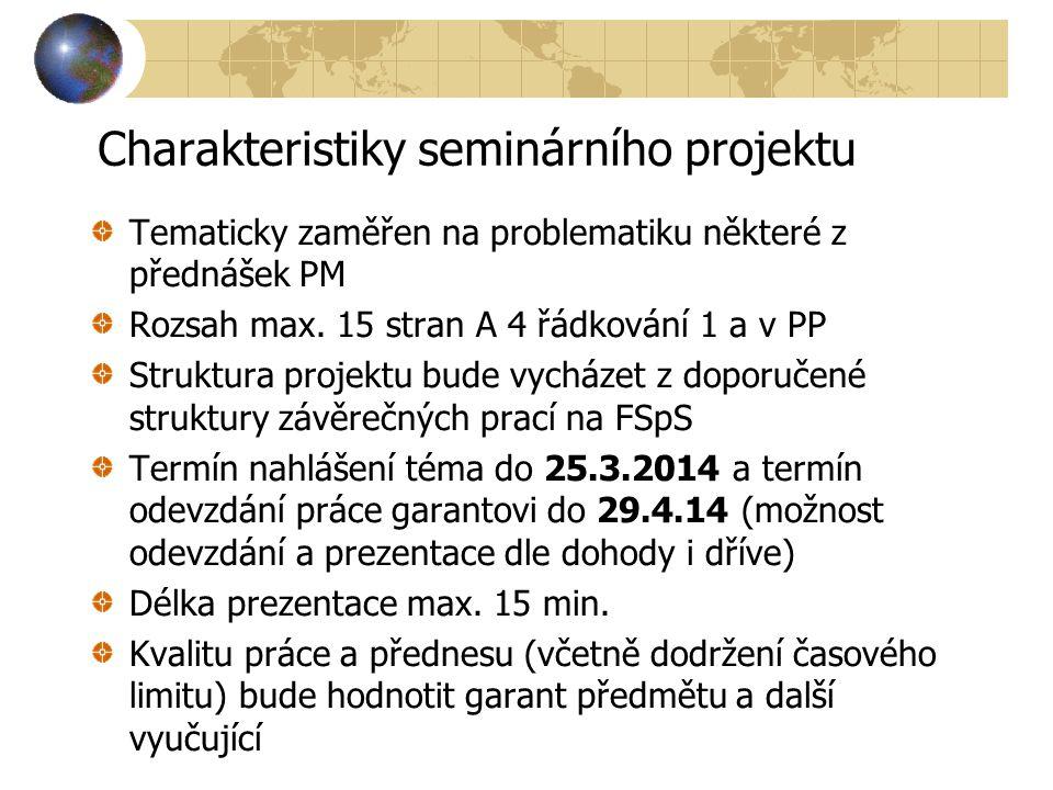 Charakteristiky seminárního projektu Tematicky zaměřen na problematiku některé z přednášek PM Rozsah max. 15 stran A 4 řádkování 1 a v PP Struktura pr
