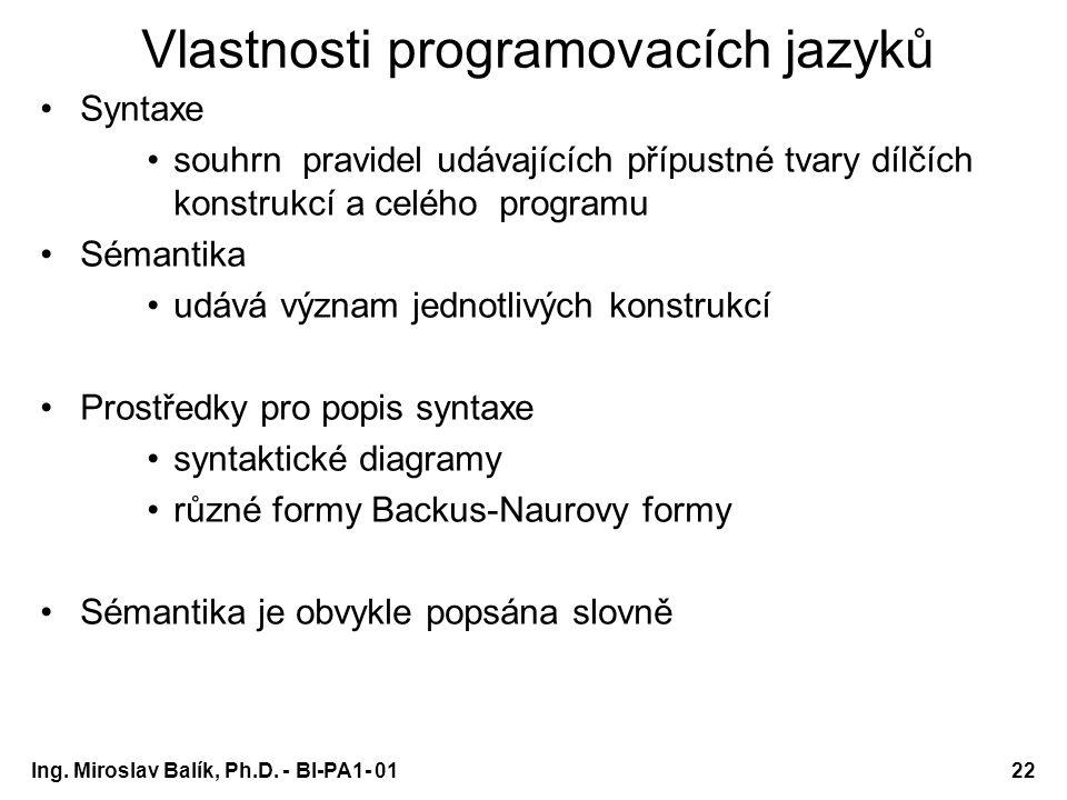 Ing. Miroslav Balík, Ph.D. - BI-PA1- 0122 Vlastnosti programovacích jazyků Syntaxe souhrn pravidel udávajících přípustné tvary dílčích konstrukcí a ce