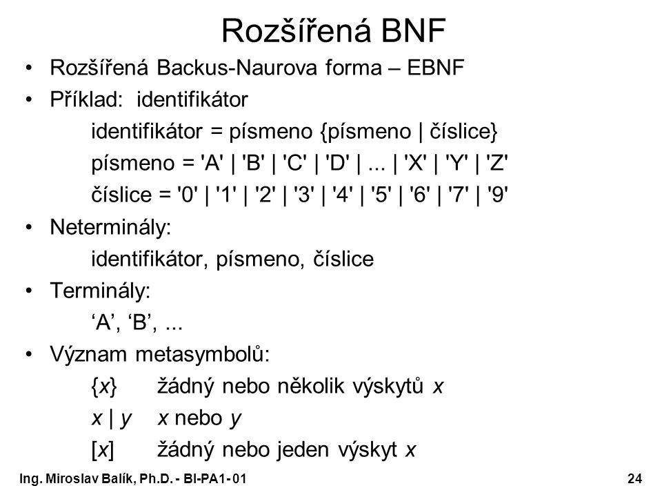 Ing. Miroslav Balík, Ph.D. - BI-PA1- 0124 Rozšířená BNF Rozšířená Backus-Naurova forma – EBNF Příklad: identifikátor identifikátor = písmeno {písmeno