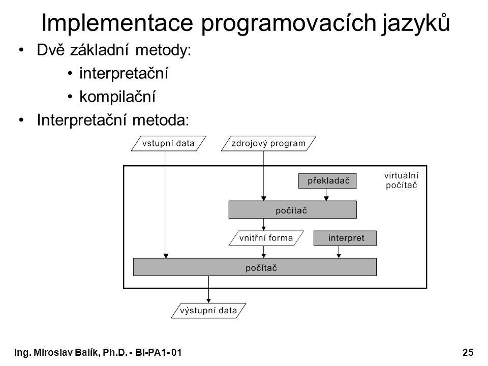 Ing. Miroslav Balík, Ph.D. - BI-PA1- 0125 Implementace programovacích jazyků Dvě základní metody: interpretační kompilační Interpretační metoda: