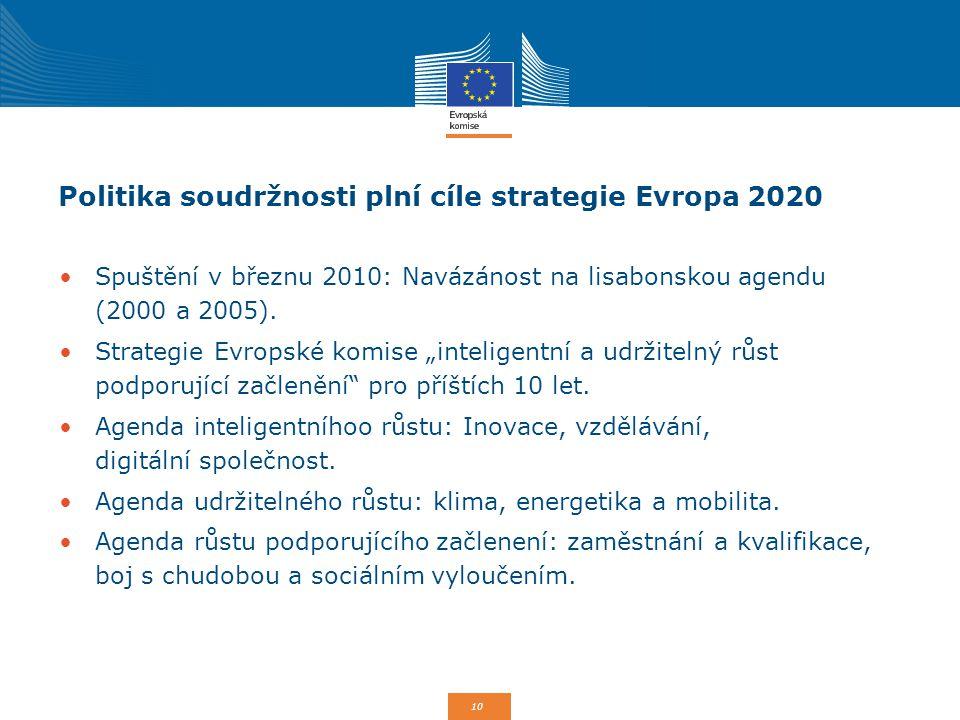 10 Politika soudržnosti plní cíle strategie Evropa 2020 Spuštění v březnu 2010: Navázánost na lisabonskou agendu (2000 a 2005). Strategie Evropské kom