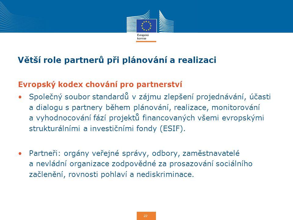 22 Větší role partnerů při plánování a realizaci Evropský kodex chování pro partnerství Společný soubor standardů v zájmu zlepšení projednávání, účast
