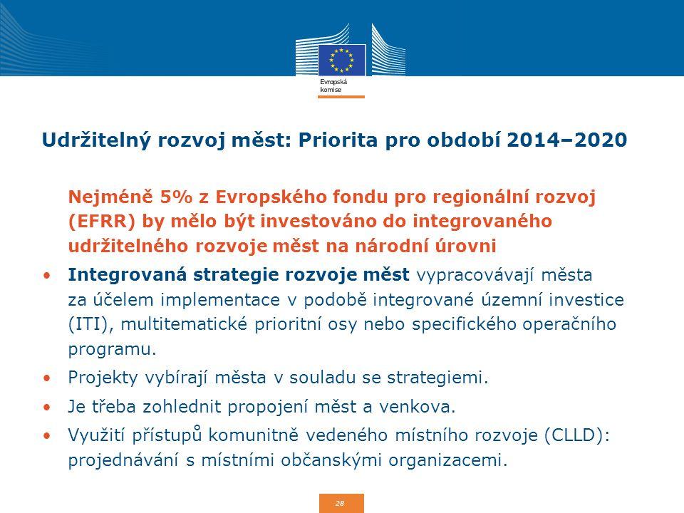 28 Udržitelný rozvoj měst: Priorita pro období 2014–2020 Nejméně 5% z Evropského fondu pro regionální rozvoj (EFRR) by mělo být investováno do integro