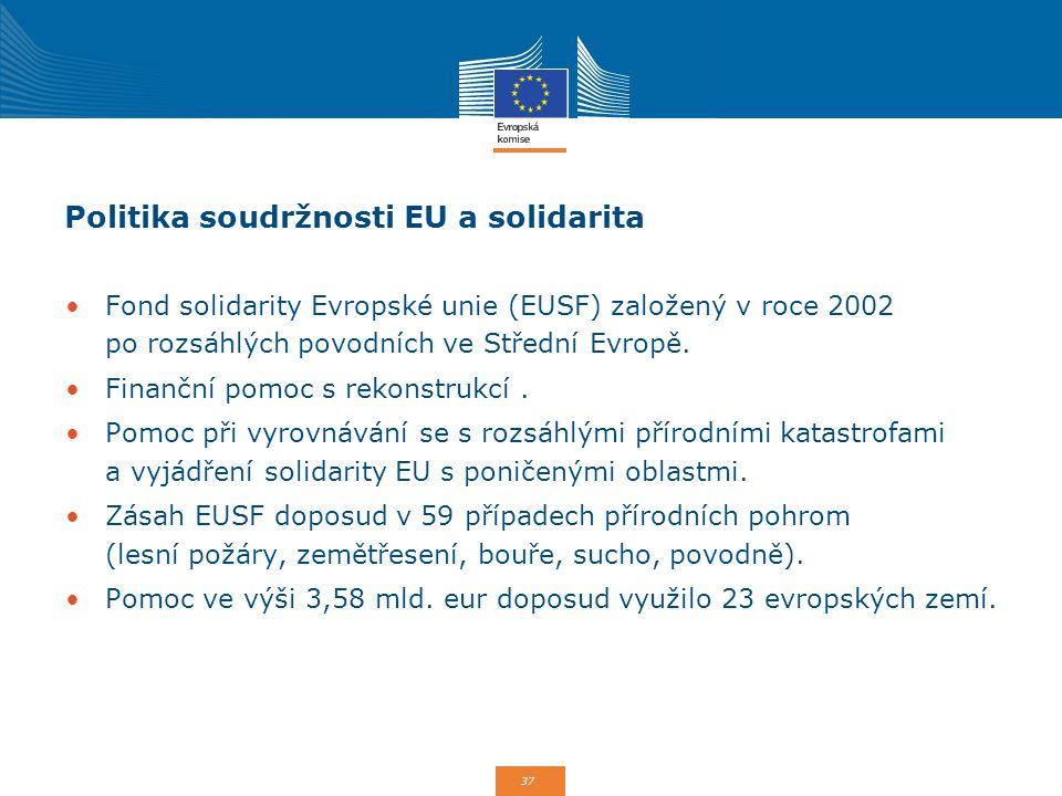 37 Politika soudržnosti EU a solidarita Fond solidarity Evropské unie (EUSF) založený v roce 2002 po rozsáhlých povodních ve Střední Evropě. Finanční