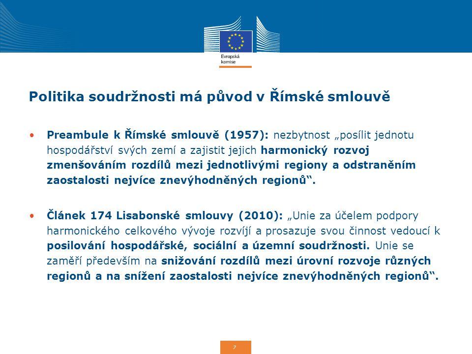 """7 Politika soudržnosti má původ v Římské smlouvě Preambule k Římské smlouvě (1957): nezbytnost """"posílit jednotu hospodářství svých zemí a zajistit jej"""
