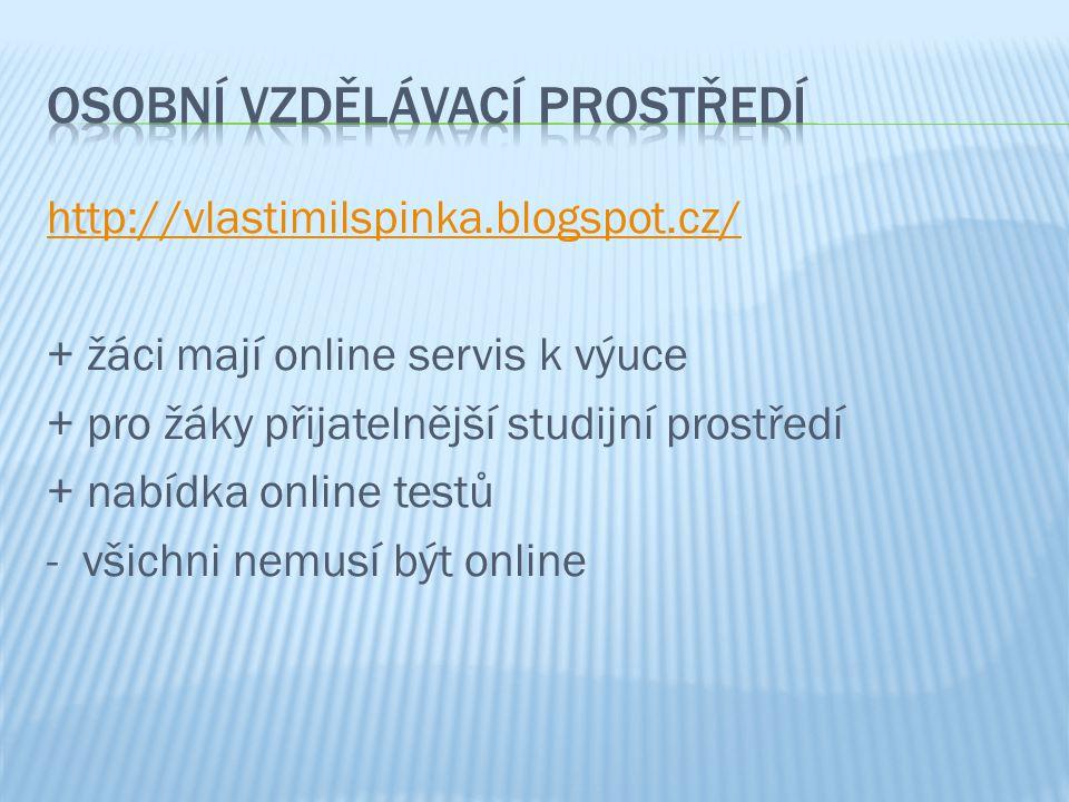 http://vlastimilspinka.blogspot.cz/ + žáci mají online servis k výuce + pro žáky přijatelnější studijní prostředí + nabídka online testů - všichni nemusí být online