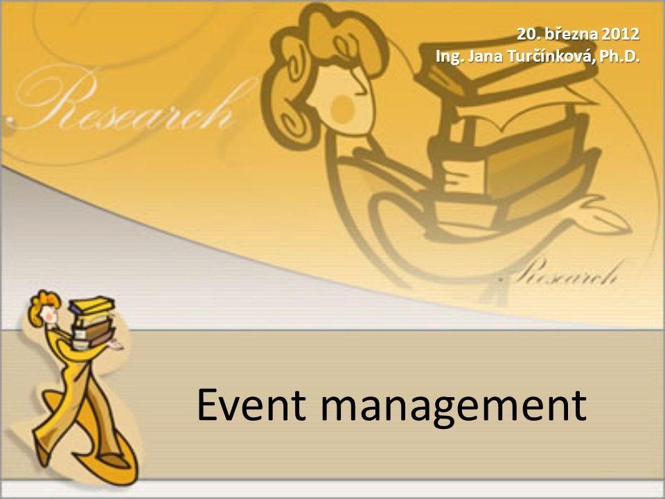 Event management 20. března 2012 Ing. Jana Turčínková, Ph.D.