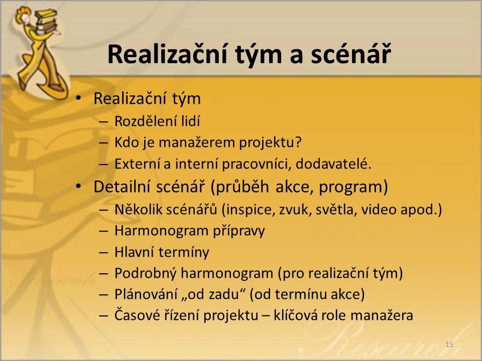Realizační tým a scénář Realizační tým – Rozdělení lidí – Kdo je manažerem projektu.