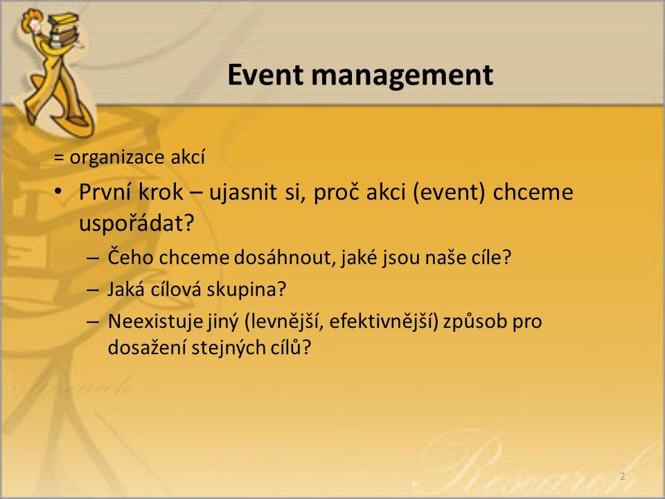Event management = organizace akcí První krok – ujasnit si, proč akci (event) chceme uspořádat.