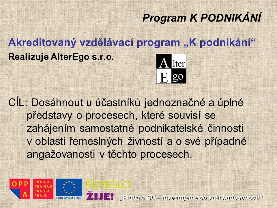 """Program K PODNIKÁNÍ """"Praha a EU – Investujeme do vaší budoucnosti"""" Akreditovaný vzdělávací program """"K podnikání"""" Realizuje AlterEgo s.r.o. CÍL: Dosáhn"""