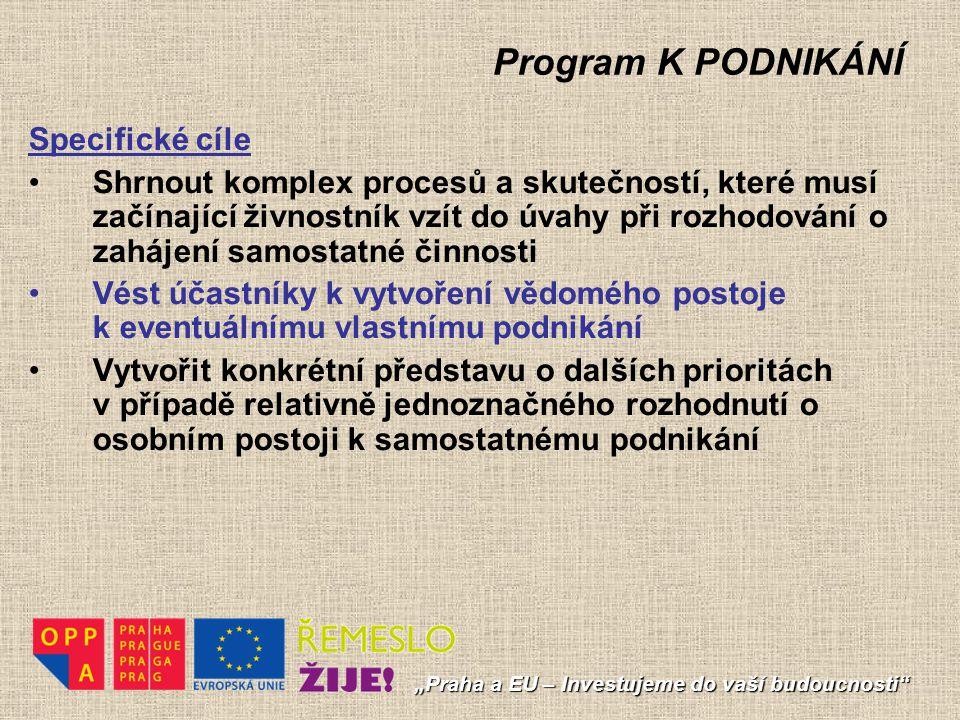 """Program K PODNIKÁNÍ """"Praha a EU – Investujeme do vaší budoucnosti"""" Specifické cíle Shrnout komplex procesů a skutečností, které musí začínající živnos"""