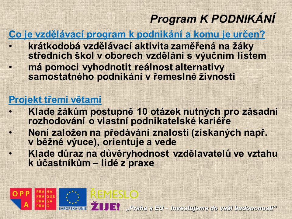 """Program K PODNIKÁNÍ """"Praha a EU – Investujeme do vaší budoucnosti"""" Co je vzdělávací program k podnikání a komu je určen? krátkodobá vzdělávací aktivit"""