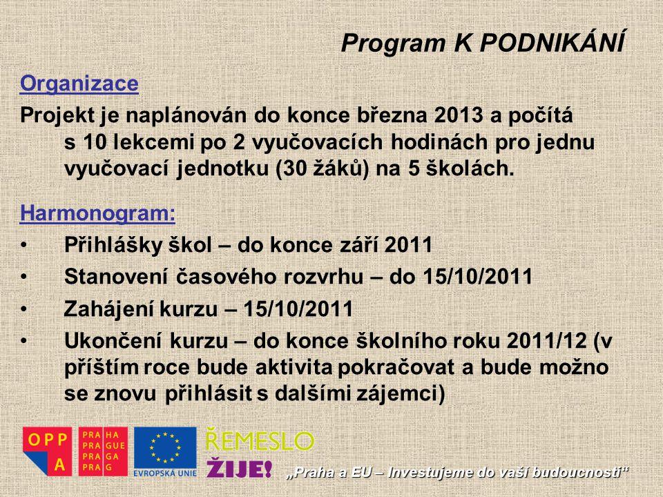 """Program K PODNIKÁNÍ """"Praha a EU – Investujeme do vaší budoucnosti"""" Organizace Projekt je naplánován do konce března 2013 a počítá s 10 lekcemi po 2 vy"""