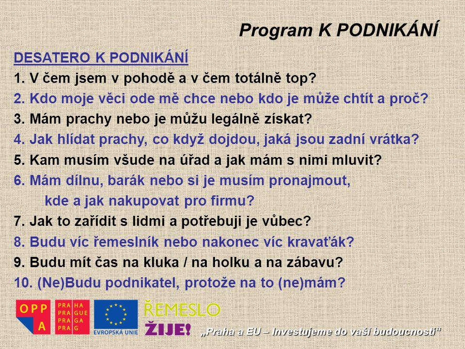 """Program K PODNIKÁNÍ """"Praha a EU – Investujeme do vaší budoucnosti"""" DESATERO K PODNIKÁNÍ 1. V čem jsem v pohodě a v čem totálně top? 2. Kdo moje věci o"""