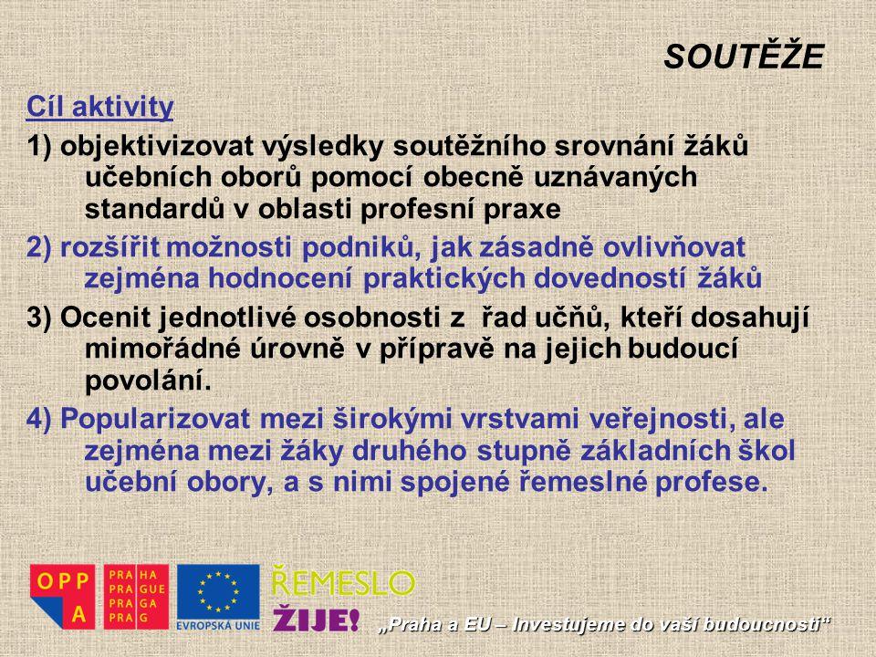 """SOUTĚŽE """"Praha a EU – Investujeme do vaší budoucnosti"""" Cíl aktivity 1) objektivizovat výsledky soutěžního srovnání žáků učebních oborů pomocí obecně u"""