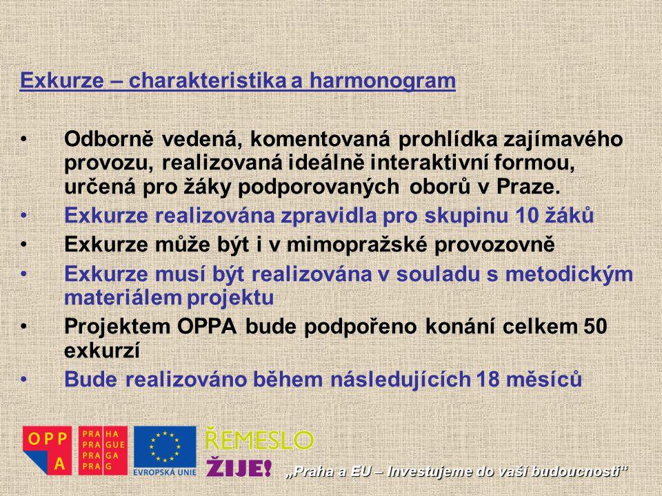 """""""Praha a EU – Investujeme do vaší budoucnosti"""" Exkurze – charakteristika a harmonogram Odborně vedená, komentovaná prohlídka zajímavého provozu, reali"""