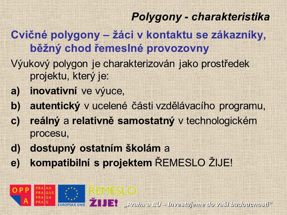 Polygony - charakteristika Cvičné polygony – žáci v kontaktu se zákazníky, běžný chod řemeslné provozovny Výukový polygon je charakterizován jako pros