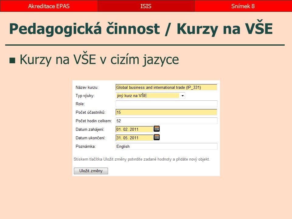 Pedagogická činnost / Kurzy na VŠE Kurzy na VŠE v cizím jazyce ISISSnímek 8Akreditace EPAS