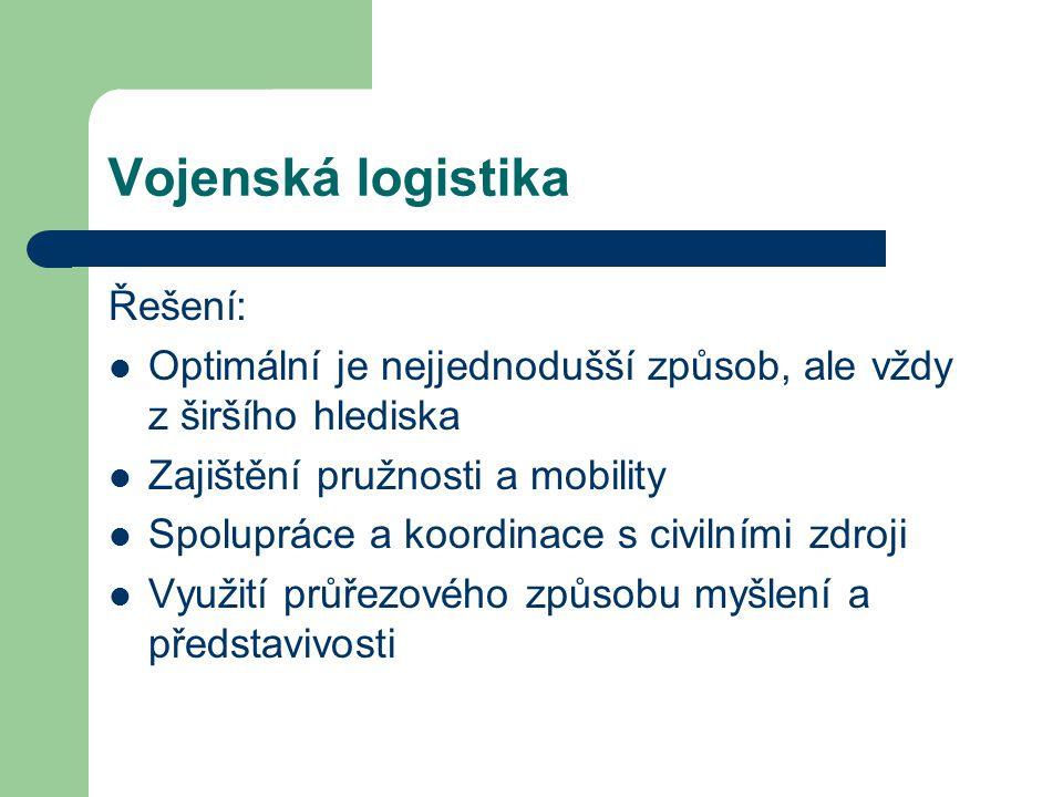 Vojenská logistika Řešení: Optimální je nejjednodušší způsob, ale vždy z širšího hlediska Zajištění pružnosti a mobility Spolupráce a koordinace s civ
