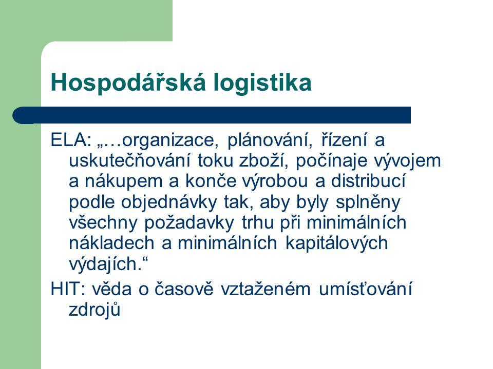 """Hospodářská logistika ELA: """"…organizace, plánování, řízení a uskutečňování toku zboží, počínaje vývojem a nákupem a konče výrobou a distribucí podle o"""