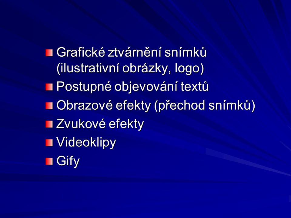 Grafické ztvárnění snímků (ilustrativní obrázky, logo) Postupné objevování textů Obrazové efekty (přechod snímků) Zvukové efekty VideoklipyGify