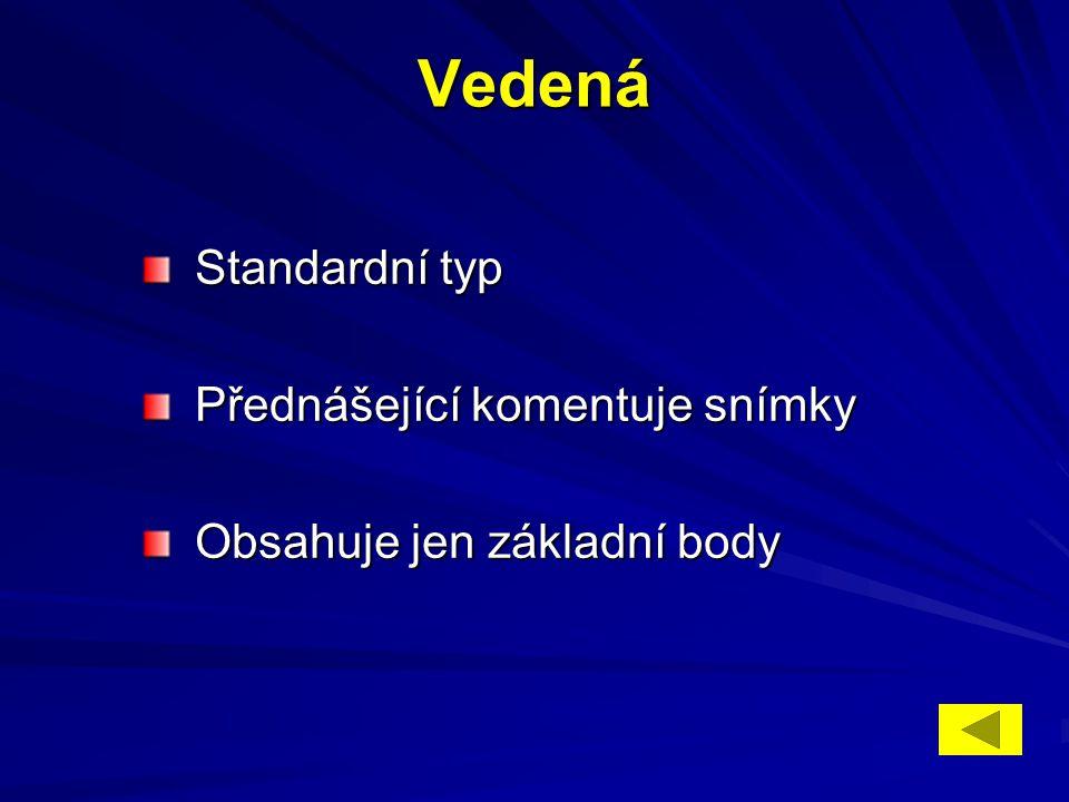 Vedená Standardní typ Standardní typ Přednášející komentuje snímky Přednášející komentuje snímky Obsahuje jen základní body Obsahuje jen základní body