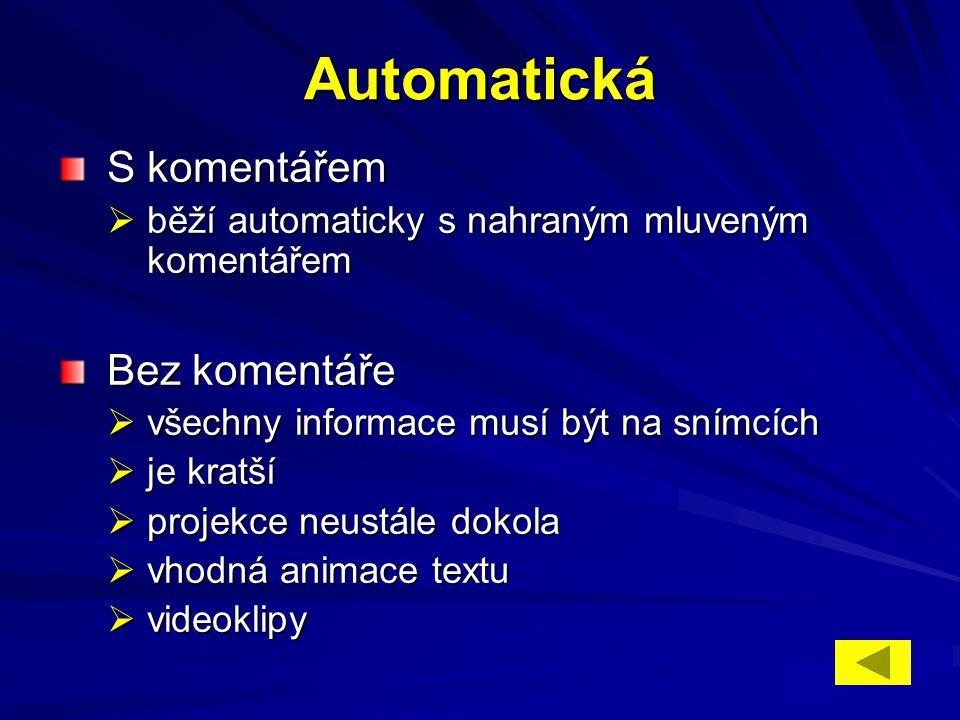 Automatická S komentářem S komentářem  běží automaticky s nahraným mluveným komentářem Bez komentáře Bez komentáře  všechny informace musí být na sn