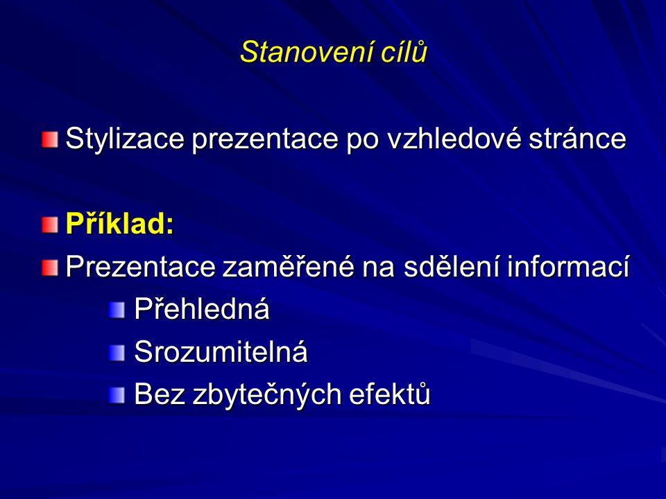 Stanovení cílů Stylizace prezentace po vzhledové stránce Příklad: Prezentace zaměřené na sdělení informací Přehledná Přehledná Srozumitelná Srozumitel
