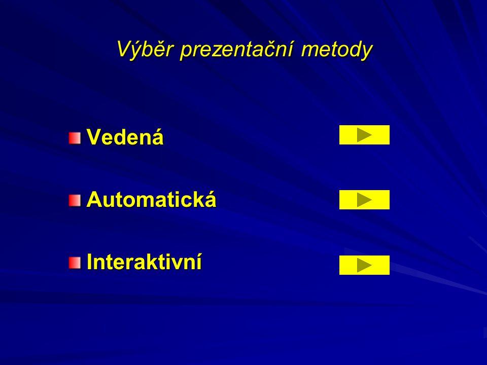 Výběr prezentační metody VedenáAutomatickáInteraktivní