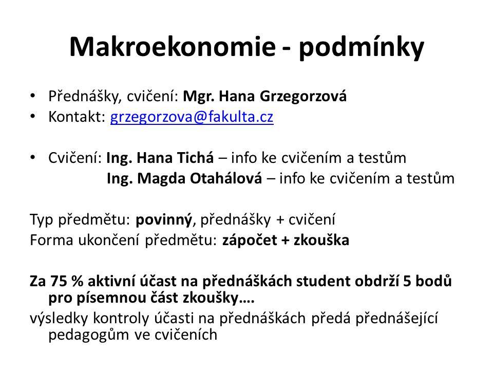Makroekonomie - podmínky Přednášky, cvičení: Mgr.