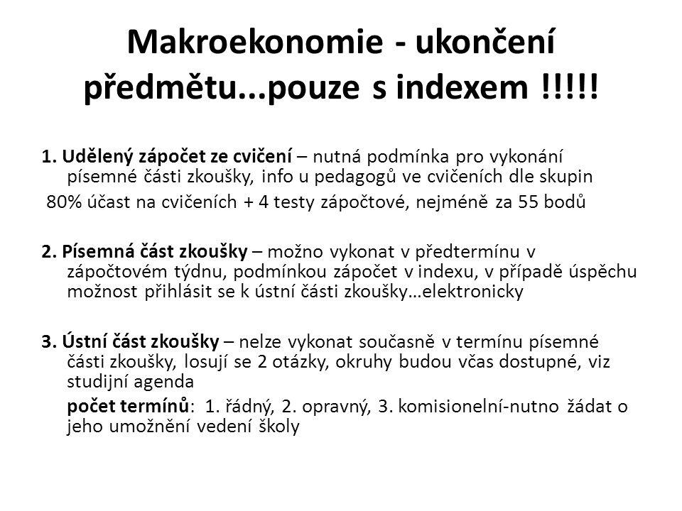 Důležité termíny makro-2014 19.2. – zahájení výuky předmětu v letním období dle rozvrhu 2.